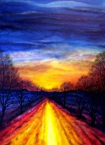 Weg, Abendstimmung, Sonne, Landschaft