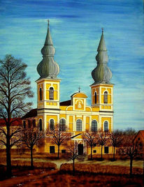 Schloss, Malerei, Landschaft, Gebäude
