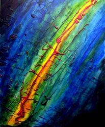 Malerei, Grün, Blau, Gelb