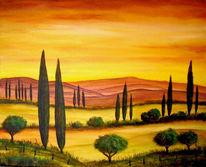 Baum, Landschaft, Malerei, Zypressen