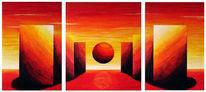 Abstrakt, Horizont, Malerei, Rot