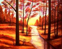 Malerei, Abendstimmung, Landschaft, Wald
