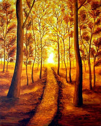 Landschaft, Malerei, Waldweg, Wald