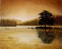 Malerei, Herbst, Landschaft, See