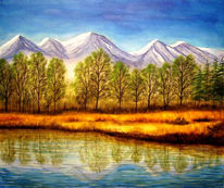 Berge, Natur, Malerei, See