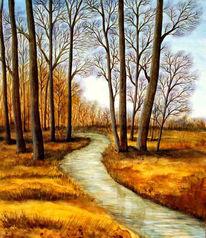Malerei, Landschaft, Wald, Baum