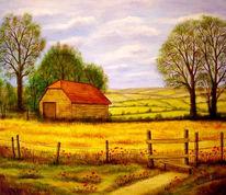 Feld, Malerei, Landschaft, Gelb