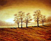 Braun, Herbst, Landschaft, Malerei