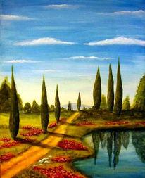 Malerei, Landschaft, Zypressen, Toskana