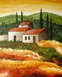 Landschaft, Malerei, Toskana