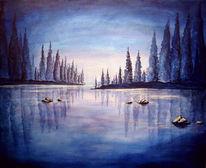 Landschaft, Blau, See, Wald
