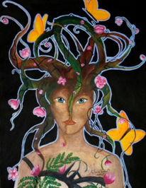 Elfen, Fantasie, Baum, Malerei