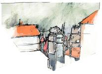 Farben, Digital, Stadt, Zeichnung