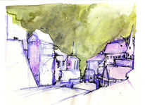 Stadt, Malerei, Perspektive, Skizze