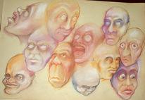 Gesicht, Pastellmalerei, Kreide, Malerei