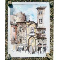 Aquarellmalerei, Architektur, Zeichnung, Italien