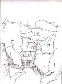 Neudorf, Landschaft, Skizze, Hessen