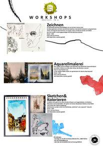 Aquarellmalerei, Sketching, Werkstatt, Zeichnung