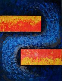 Abstrakt, Malerei, Feuer, Wasser