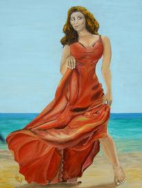 Frau, Meer, Rot, Figural