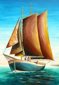 Schiff, Malerei, Acrylmalerei, Meer