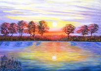 Malerei, Acrylmalerei, Landschaft, See