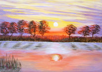 Acrylmalerei, Landschaft, Malerei, See