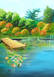Malerei, Acrylmalerei, Landschaft, Stück