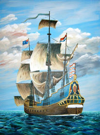 Malerei, Schiff, Meer, Holländische galeone