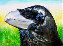 Rabe, Malerei, Vogel, Acrylmalerei