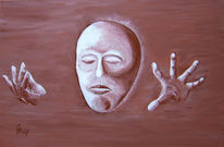 Malerei, Acrylmalerei, Abstrakt, Maske