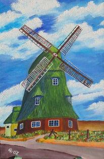 Mühle, Acrylmalerei, Landschaft, Malerei