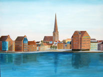Landschaft, Stadt, Acrylmalerei, Malerei