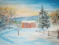 Landschaft, Winter, Acrylmalerei, Malerei