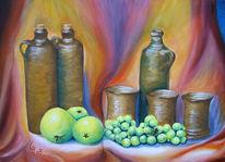Malerei, Stillleben, Ölmalerei, Obst