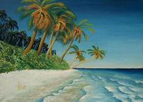Meer, Landschaft, Palmen, Strand