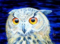 Malerei, Vogel, Uhu, Acrylmalerei