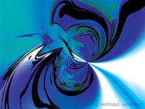 Abstrakt, Licht, Blau, Digital