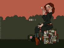Rosa, Reise, Grafik, Skyline