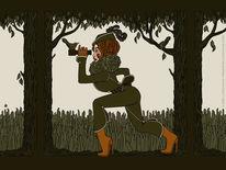 Jagd, Wald, Fernglas, Plakatkunst