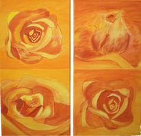 Malerei, Figural, Rose, Orange