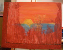 Acrylmalerei, Rot, Orange, Schilf