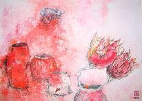 Topf, Rot, Blumen, Malerei
