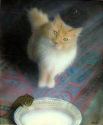 Maus, Katze, Katzenmaler, Kunstband