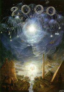 Realismus, Fantastische malerei, Antike tempel, Millennium
