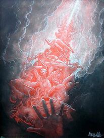 Jüngstes gericht, Gewalt, Menschen, Aquarellmalerei