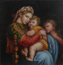 Ölmalerei, Malerei, Figural, Madonna