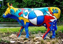 Skulptur, Bmw, Kuh, Farben