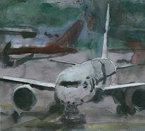 Malerei, Flugzeug, Fliegen, Flieger