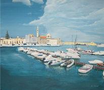 Landschaft, Malerei, Hafen